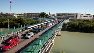 An international bridge connecting Laredo, Texas and Nuevo Laredo, Tamaulipas.