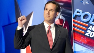 Rick Santorum walking onstage at the CNN debate in Charleston, S.C., on Jan. 19, 2012.