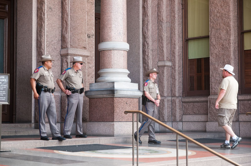 State troopers denying visitor entrance to the Capitol due to a bomb threat on June 18, 2010.