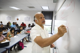 Carlos Handy, Professor and Chair of the Department of Physics  at Texas Southern University, teach a Physics 2 class in Houston Wednesday, September 14, 2011.