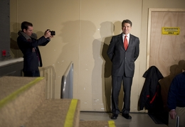 Gov. Rick Perry waits to go on stage at the 7 Flags Events Center in Clive, Iowa, on Jan. 3, 2012. Perry placed fifth in the Iowa caucuses.