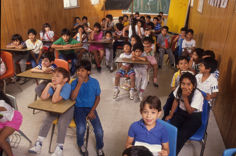 Crowded classroom in Edgewood School District, San Antonio, TX
