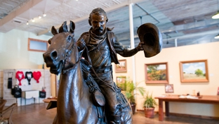 Cow John and Old Ruidoso by Robert Summers. On display at the White Horse Station, a coffeeshop, event space, and art gallery, in Clifton, Texas.