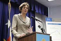 Comptroller Susan Combs giving a biennial revenue estimate in Austin on Jan. 10, 2011.