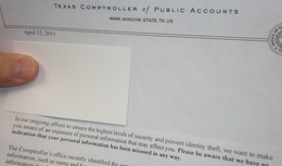 Picture of one of millions of letters sent you by the Comptroller's office after it was discovered that the personal information of more than three million people was left unprotected for a year.