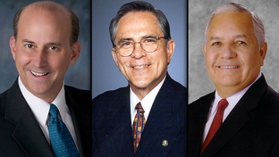 Louie Gohmert (l), Republican of Tyler, Rubén Hinojosa (c), Democrat of Edinburg and Silvestre Reyes (r), Democrat of El Paso