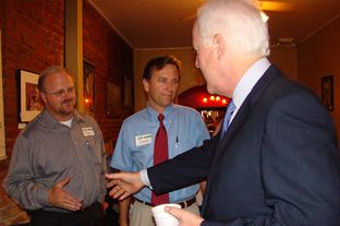 John Higgins, chief of staff to state Rep. Tim Kleinschmidt, can be seen on the far left of this photo with U.S. Sen. John Cornyn. Higgins pleaded guilty following a Travis County District Attorney Public Integrity Unit investigation into improprieties involving travel reimbursements.
