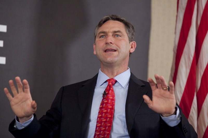 U.S. Senate candidate Craig James gestures while making a point during TribLive on February 23, 2012.