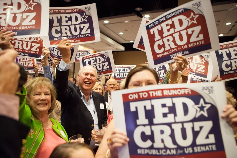 Ted Cruz supporters at his election night watch party in Houston on July 31, 2012.
