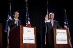 Ted Cruz and Lt. Gov. David Dewhurst, right, at a U.S. Senate candidate debate on Jan. 12, 2012.