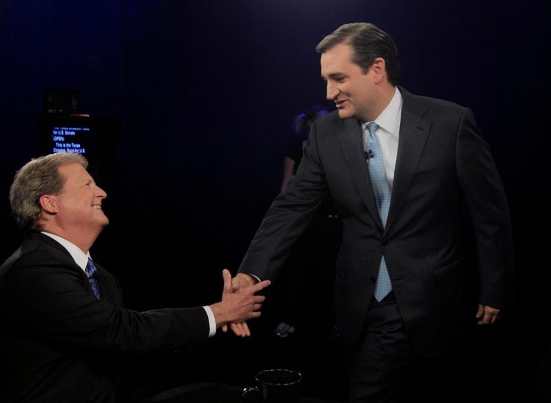 Ted Cruz and Paul Sadler during the KERA/Texas Tribune debate for U.S. Senate on Oct. 19, 2012.