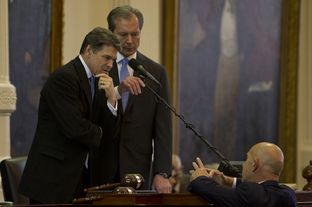 Gov. Rick Perry and Lt. Gov. David Dewhurst listen to Sen. John Whitmire, D-Houston, on Jan. 8, 2013, the opening day of the 83rd legislative session.