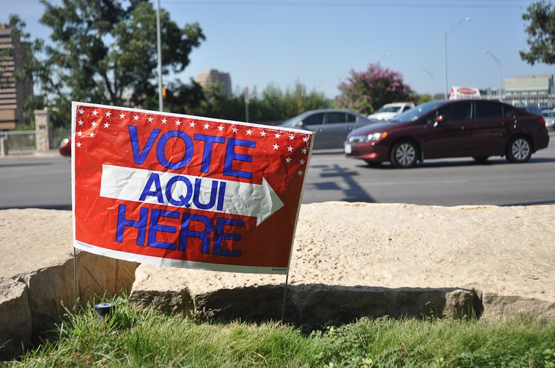 Vote sign outside of Austin City Hall, July 31, 2012.