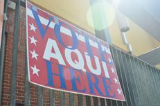 Vote sign outside of Pan AM Recreation Center in Austin, TX on July 31, 2012.