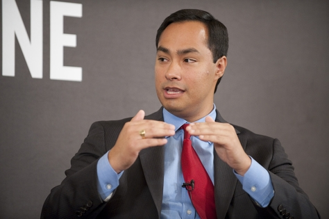 Texas House member Joaquin Castro, who is running for U.S. Congress, makes a point at a TribLive event on December 1, 2011.