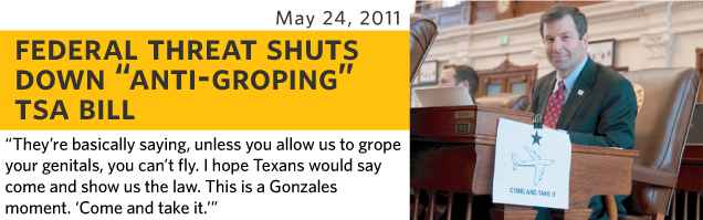 They're basically saying, unless you allow us to grope your genitals, you can't fly. I hope Texans would say come and show us the law. This is a Gonzalez moment. Come and take it