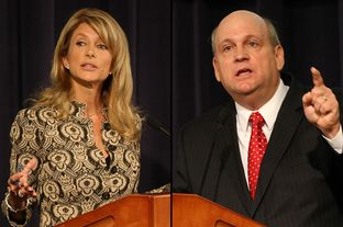 State Sen. Wendy Davis, D-Fort Worth, debates state Rep. Mark Shelton, R-Fort Worth, in the matchup for Senate District 10.