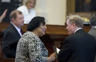 Rep. Yvonne Davis (l), D-Houston, challenges House Appropriations Committee chairman Jim Pitts (r), R-Waxahachie, during debate on amendments to SB-2 a supplemental budget bill on June 9, 2011.