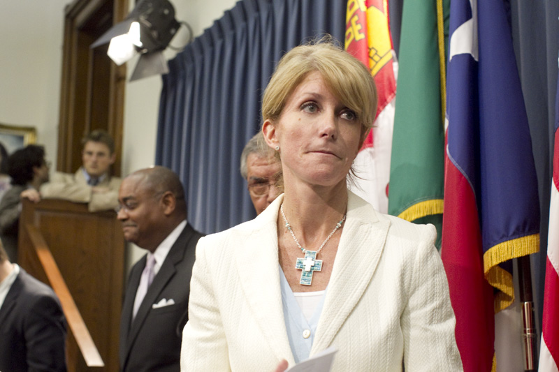 State Sen. Wendy Davis, D-Fort Worth, leaving a press conference on May 29, 2011.