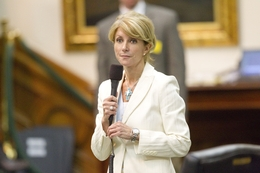State Sen. Wendy Davis, D-Fort Worth, completes her filibuster at midnight of SB1811 on May 29, 2011.