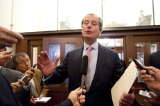 """After emerging from a closed-door meeting with House members, Lt. Gov. David Dewhurst tells the press, """"We're very very close"""" in budget negotiations on May 19, 2011."""