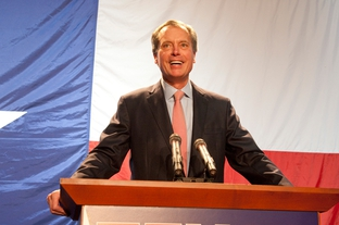 Lt. Gov. David Dewhurst speaks at the Republican watch party at the TDS Exotic Game Ranch on Election Night, Nov 2, 2010.  Dewhurst easily beat Democratic challenger Linda Chavez-Thompson.