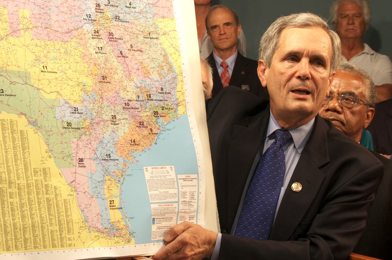 U.S. Rep. Lloyd Doggett shows state district map.