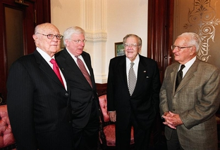 Former Texas governors (from left): Preston Smith, Mark White, Dolph Briscoe, and Bill Clements.