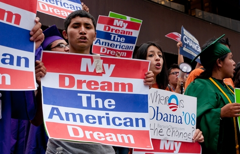 Dream Act supporters outside of the W hotel at President Obama's fundraiser on May 10, 2011.