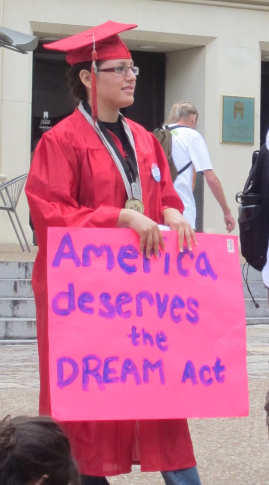 Veronica Cervantes, an Austin Community College student, participates in a rally on the University of Texas at Austin campus to support the Dream Act.