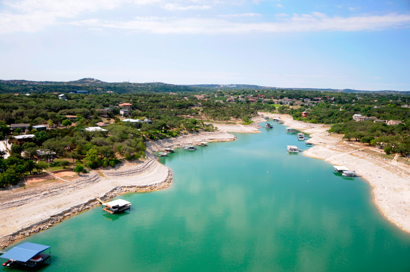 Low water levels at Lake Travis because of drought; photo taken May 16, 2011.