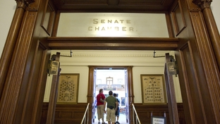 Tourists enter the empty Senate chamber Wednesday morning as the Texas Senate adjourned sine die the day before, leaving the House with unfinished business on June 29, 2011.