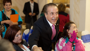 Democratic candidate for Governor Farouk Shami  greets visitors at an evening meet and greet at the Celestial Room in downtown McAllen, TX.