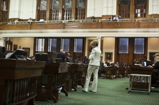 State Sen. Wendy Davis, D-Fort Worth, reads letters from her constituents on the Senate floor as she filibusters SB1811 on Sunday night May 29, 2011