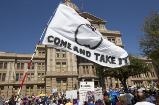 "A ""Come and Take It"" flag depicting an apple instead of the traditional cannon at the Save Our Schools rally at the Texas Capitol on March 12, 2011."