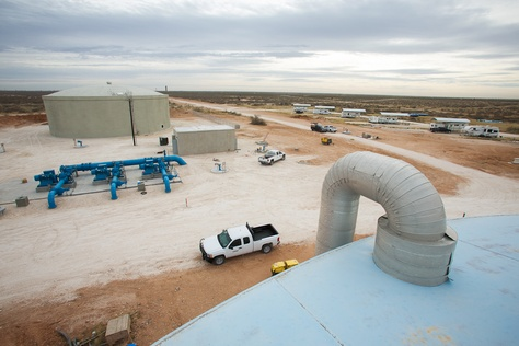 Construction finishing on a two million gallon water tank in a 13,000-acre water well field owned by the Colorado River Municipal Water District near Wickett, Texas. The land and existing infrastructure, purchased from Luminant Generation using state funds, as well as newly constructed water wells and pipeline, can pump up to 30 million gallons of water out of the field a day.