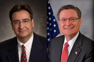 "State Rep. Pete Gallego (left), and U.S. Rep. Francisco ""Quico"" Canseco"