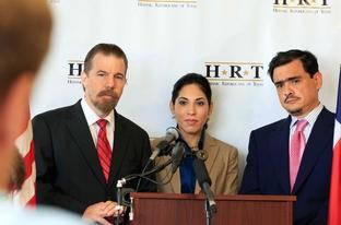 Hispanic Republicans of Texas (HRT). Left to right,  Juan Hernandez, Sonia Medina and Jacob Monte.