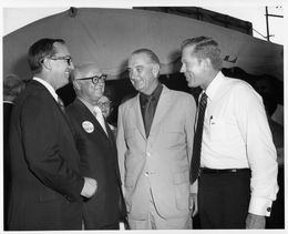 "A portrait of power in Texas in 1970: House Speaker Gus Mutscher, Governor Preston Smith, former president Lyndon Johnson, and Lieutenant Governor Ben Barnes, at ""Gus Mutscher Day"" in Brenham, August 17, 1970."