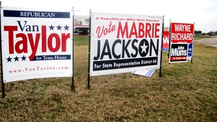Political signs by the road in House District 66.