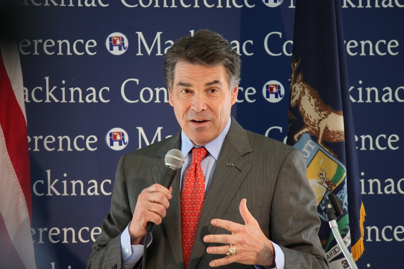 Rick Perry speaking at a Michigan GOP conference on Mackinac Island on Sept. 24, 2011.