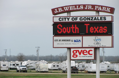 Trailers housing drill workers line a city park in Gonzales.