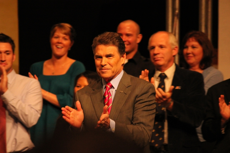 Gov. Rick Perry at a presidential forum hosted by conservative group Family Leader in Des Monies, Iowa.