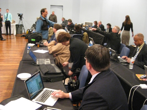Press room at the first GOP debate
