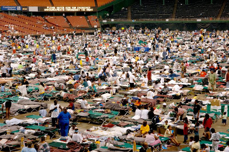 'Astrodome' stadium filled with refugees from Louisiana in Houston, Texas, USA, on September 3, 2005.