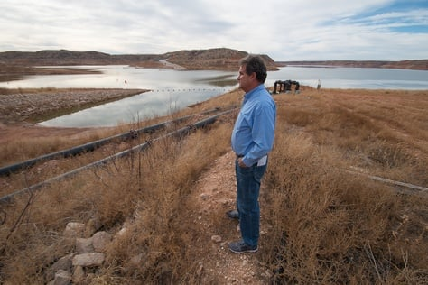 Kent Satterwhite, general manager of the Canadian River Municipal Water Authority at Lake Meredith near Borger, Texas, on Tuesday, Dec., 18, 2012.