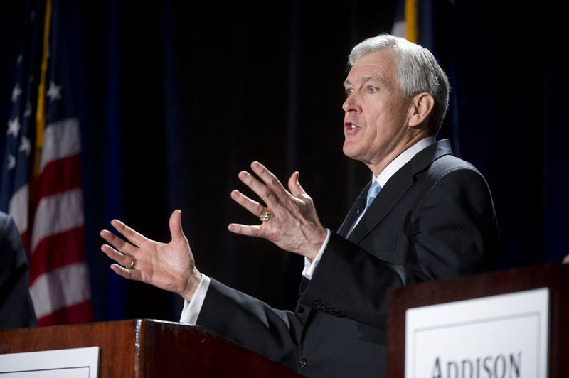 Republican Tom Leppert makes a point during the TPPF's U.S. Senate candidate debate in Austin on January 12, 2012.