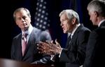Tom Leppert and David Dewhurst, left, and Glenn Addison, right, during a U.S. Senate GOP candidate debate on Jan. 12, 2012.