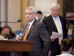 State Rep. Tryon Lewis, R-Odessa, lays out SB1504 on the disposal of radioactive waste on May 17, 2011.