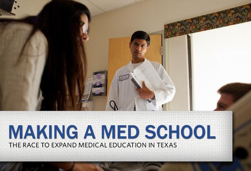 First year resident Karthik Mekala, MD, watches Chief Maryam Ayaz, MD, check on a patient at UMC Brackenridge.